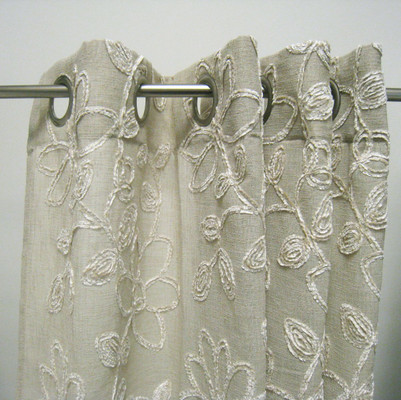 Darcy Chenille Grommet Top Curtain Panel - Taupe