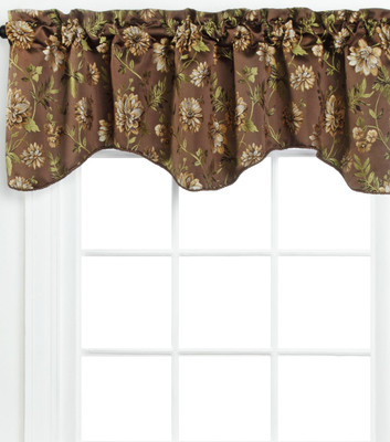 Dahlia Scalloped Lined Valance - Chocolate