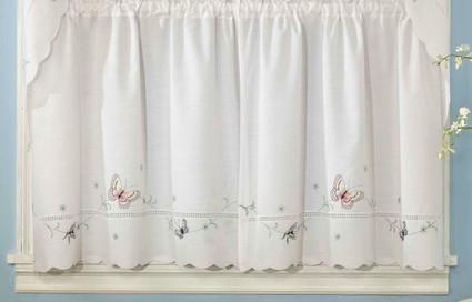 "Monarch Butterfly 24"" kitchen curtain tier"