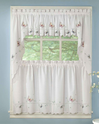 Monarch Butterfly Embroidered Kitchen Curtain