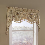 Jewel Embroidered Austrian Valance - Beige