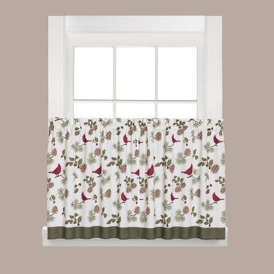 "Cheerful Trimmings Christmas kitchen curtain 24"" tier"