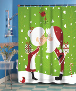 Christmas Kissing Claus Shower Curtain