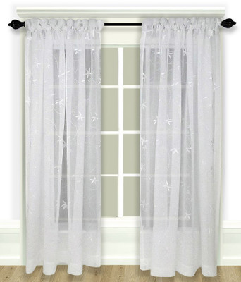Zurich Embroidered Rod Pocket Curtains - White
