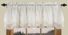 Zurich Embroidered Rod Pocket Valance - Ivory
