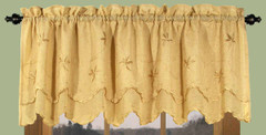 Zurich Embroidered Rod Pocket Valance - Butterscotch