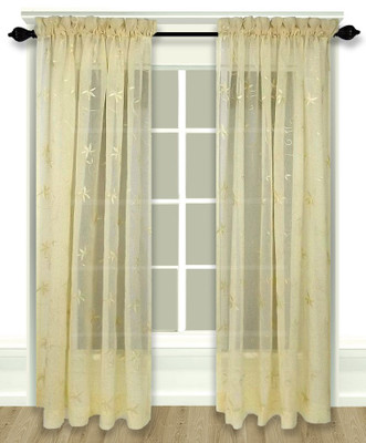 Zurich Embroidered Rod Pocket Curtain Panel - Custard
