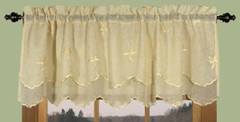 Zurich Embroidered Rod Pocket Valance - Custard