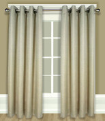 Grasscloth Lined Grommet Top Curtain Panel - Linen