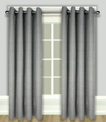Grasscloth Lined Grommet Top Curtain Panel - Ash