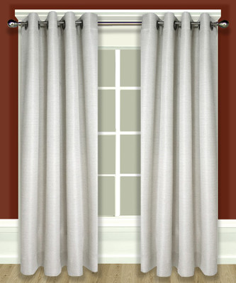 Grasscloth Lined Grommet Top Curtain Panel - Parchment