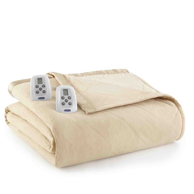 Shavel Micro Flannel Heated Blanket - Chino