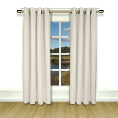 New Castle Lined Grommet Top Curtain Panel - White