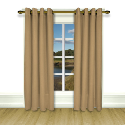 New Castle Lined Grommet Top Curtain Panel - Toffee