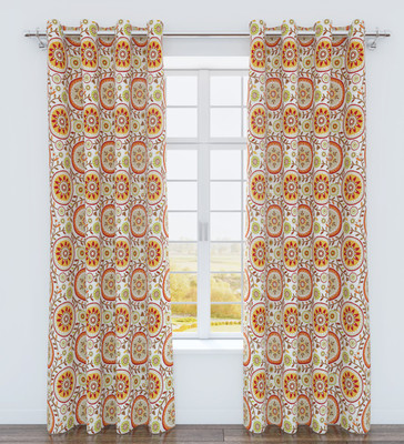 Iris Printed Grommet Top Curtain Panel - Spice