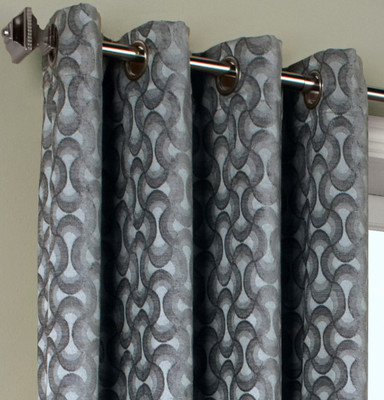 Rope Chenille Grommet Top Curtain Panel - Silver