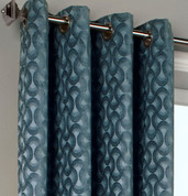 Rope Chenille Grommet Top Curtain Panel - Blue from Commonwealth