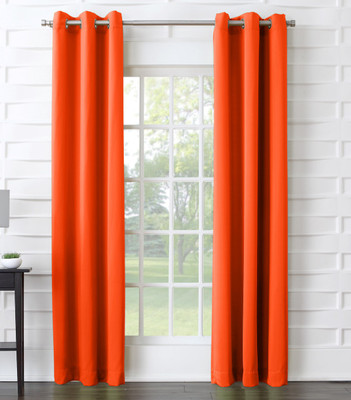 Kingsley Sun Zero Room Darkening Grommet Top Curtain - Tangerine
