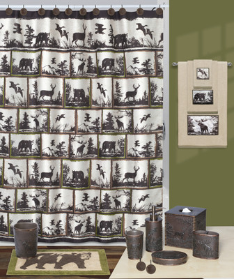 Rustic Montage Shower Curtain and Bathroom Accessories from Creative Bath
