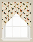 Tuscan Morning Roosters kitchen curtain swag from Saturday Knight