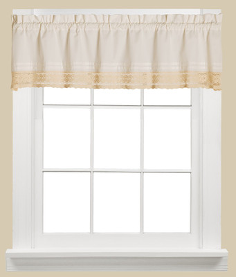 Heritage lace kitchen curtain valance from Saturday Knight