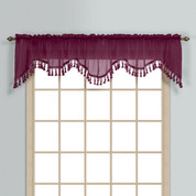 Monte Carlo Sheer fringed scalloped valance - Burgundy (2 shown in picture)