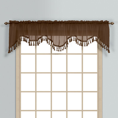 Monte Carlo Sheer fringed scalloped valance - Chocolate Brown (2 shown in picture)