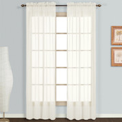 Monte Carlo Natural sheer rod pocket curtain pair