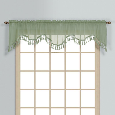 Monte Carlo Sheer fringed scalloped valance - Sage green (2 shown in picture)