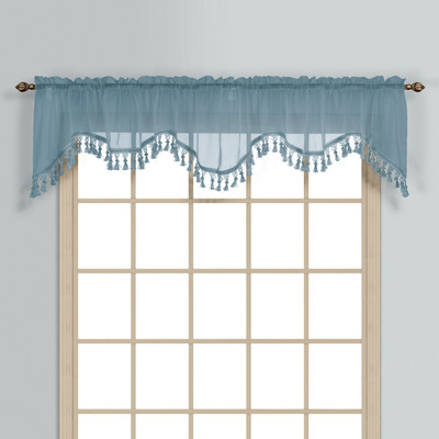 Monte Carlo Sheer fringed scalloped valance - blue (2 shown in picture)