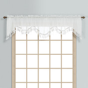Monte Carlo Sheer fringed scalloped valance - white (2 shown in picture)