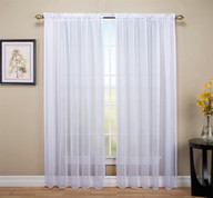 Tergaline Sheer Rod Pocket Curtain Panel - White (2 panels shown)