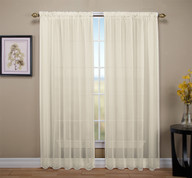 Tergaline Sheer Rod Pocket Curtain Panel - Ivory (2 panels shown)