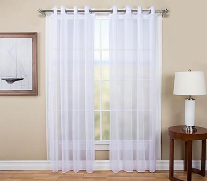 Tergaline Sheer Grommet Top Curtain Panel - White (2 panels shown)
