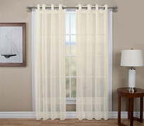 Tergaline Sheer Grommet Top Curtain  Panel - Ivory (2 shown)