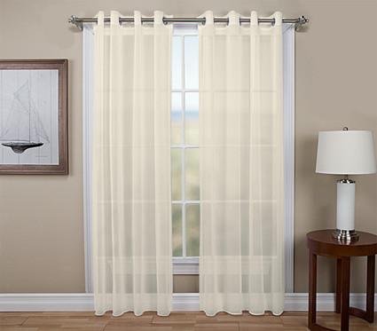Tergaline Sheer Grommet Top Curtain  Panel - Ivory (2 shown)