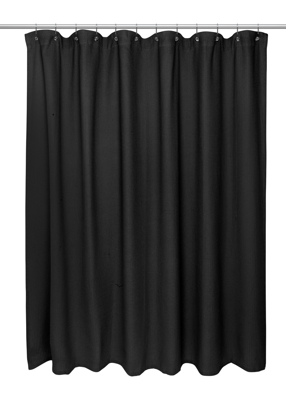 Waffle Weave Extra Long Cotton Shower Curtain Black