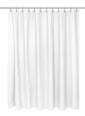 Waffle Weave Extra Long Cotton Shower Curtain - White