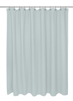 Waffle Weave Extra Long Cotton Shower Curtain - Spa Blue