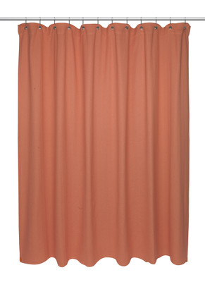 Chevron Weave Extra Long Cotton Shower Curtain - Burnt Coral
