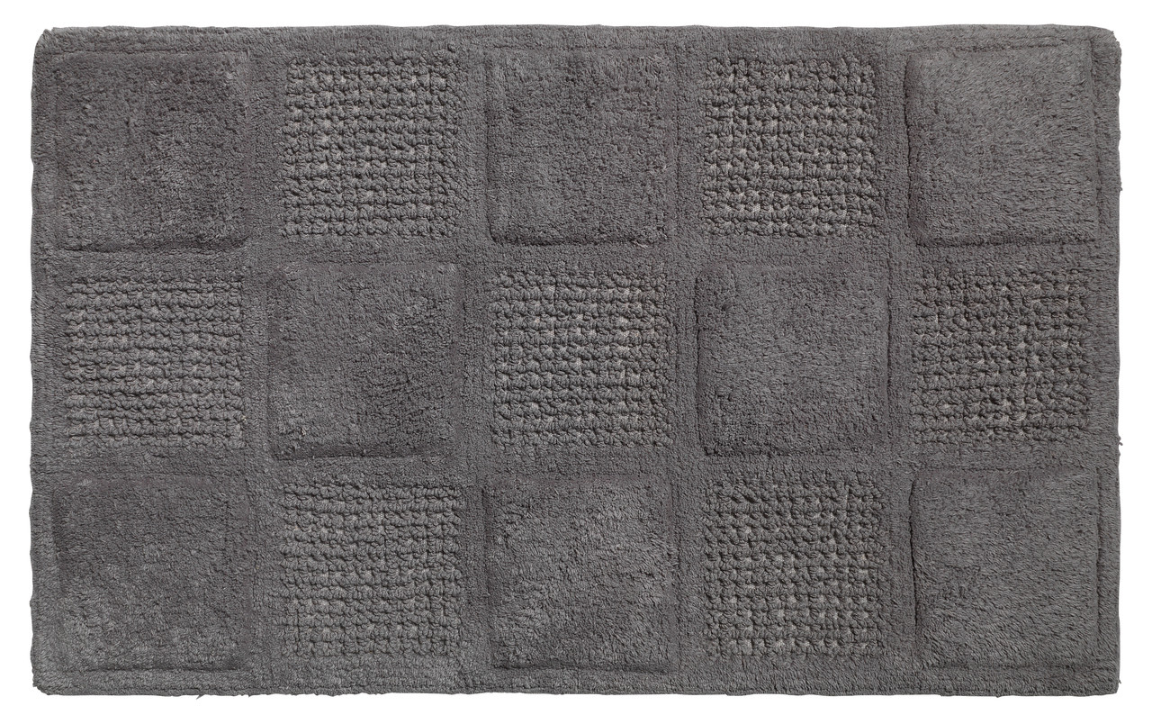 Waffle Weave Cotton Bath Rug Pewter