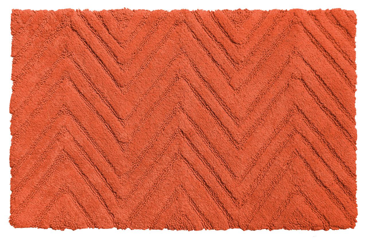 Chevron Weave Cotton Bath Rug Burnt Coral Linens4less Com
