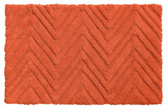 Chevron Weave Cotton Bath Rug - Burnt Coral