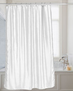 Shimmer Faux-Silk Shower Curtain - White