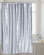 Shimmer Faux-Silk Shower Curtain - Pewter