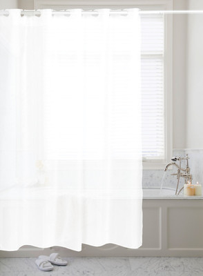 PreHooked Solid Shower Curtain - White