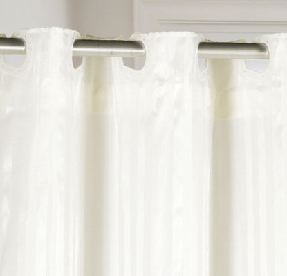 PreHooked Satin Stripe Shower Curtain - Ivory