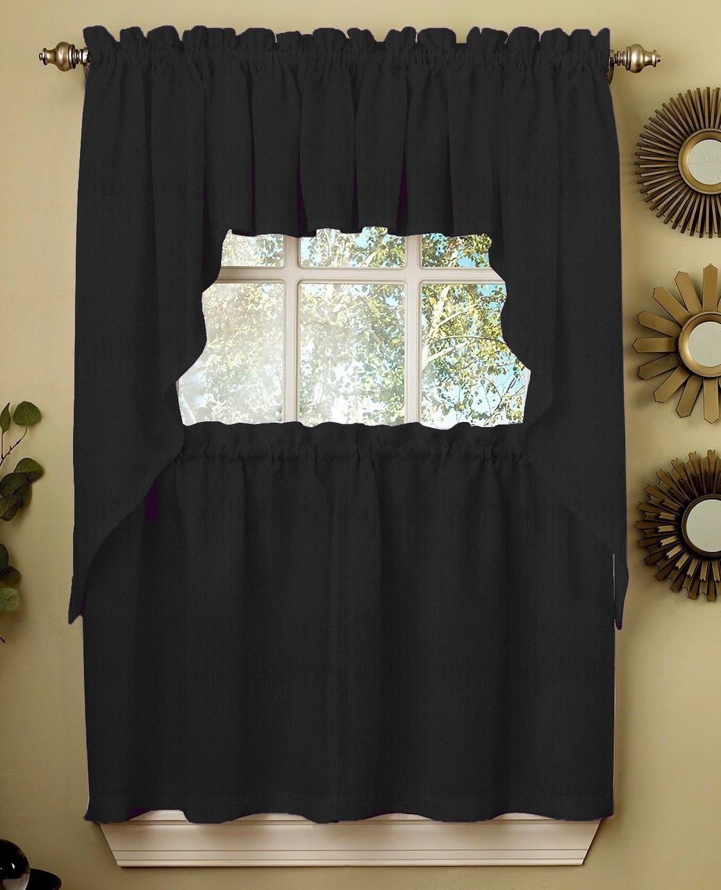 Ribcord Kitchen Curtain Black Linens4less Com
