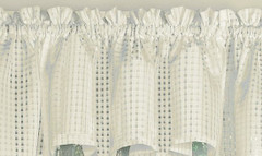 Gridwork kitchen curtain valance - Cream