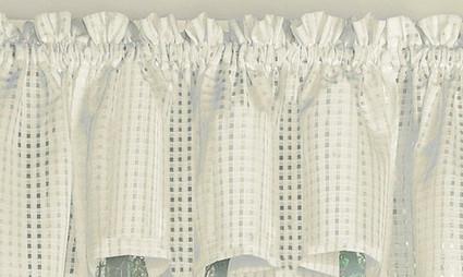 Gridwork kitchen curtain valance - Cream